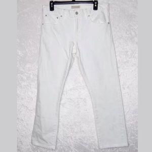 Uniqlo White Slim Jeans 32 Silhouette Straight Low